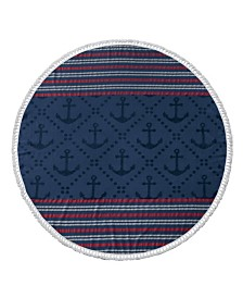 Enchante Home Anchor Turkish Cotton Round Beach Towel