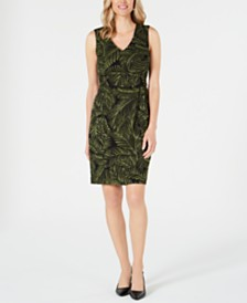 Kasper Printed Tie-Waist Sheath Dress