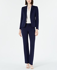Anne Klein Blazer, Split-Neck Blouse & Twill Pants