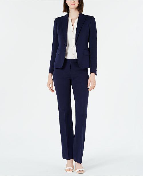 Anne Klein Blazer, Split-Neck Blouse & Twill Pants