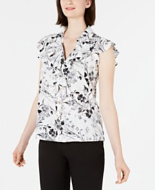 Calvin Klein Floral-Print Ruffled Button-Front Blouse