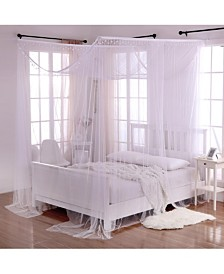 Cottonloft Palace Crystal 4-Post Bed Sheer Mosquito Net Panel Canopy