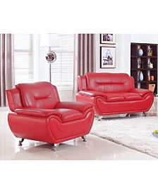 US Furnishings Express Elliot Collection Faux Leather Loveseat and Chair Set, 2 Piece