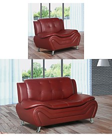 US Furnishings Express Rory Collection Faux Leather Loveseat and Chair Set, 2 Piece