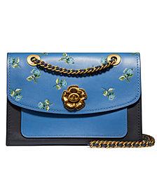 COACH Floral Print Leather Blocking Parker Shoulder Bag