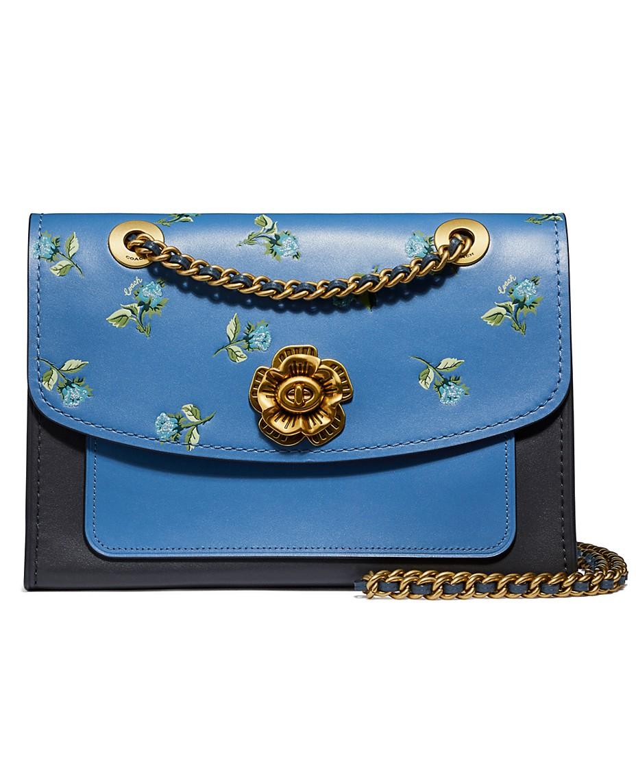 6698826f COACH Floral Print Leather Blocking Parker Shoulder Bag & Reviews ...