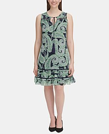Petite Paisley-Print Flounce Dress