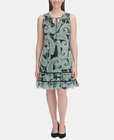 Tommy Hilfiger Petite Paisley-Print Flounce Dress
