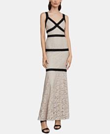 BCBGMAXAZRIA Contrast-Lace Gown