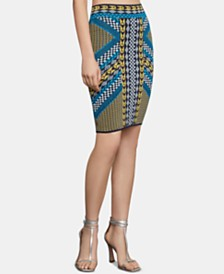 BCBGMAXAZRIA Printed Jacquard Pencil Skirt