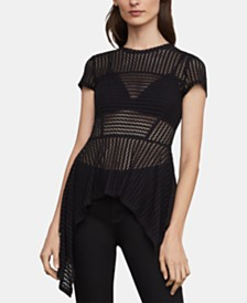 BCBGMAXAZRIA Striped-Lace Asymmetrical-Hem Top