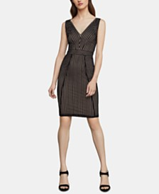 BCBGMAXAZRIA Striped Lace Sheath Dress
