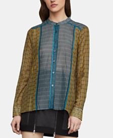 BCBGMAXAZRIA Mixed-Print Button-Front Shirt