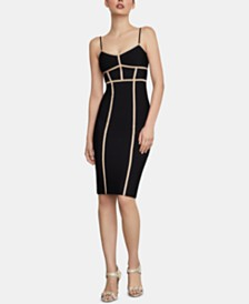 BCBGMAXAZRIA Contrast-Piping Bodycon Dress