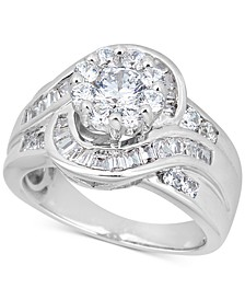 Diamond Halo Baguette Engagement Ring (2 ct. t.w.) in 14k White Gold