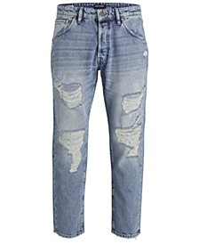 Jack and Jones Men's Tapered Fit Destroyed Style Fred Jeans
