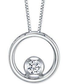 "Sirena Diamond Circle 18"" Pendant Necklace (1/8 ct. t.w.) in 14k White Gold"