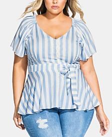 City Chic Trendy Plus Size Romantic Shoulder Top