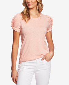 CeCe Twisted Puff-Sleeve Top