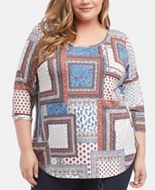 Karen Kane Plus Size Printed 3/4-Sleeve Top