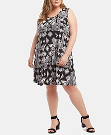 Plus Size Sleeveless Printed Swing Dress