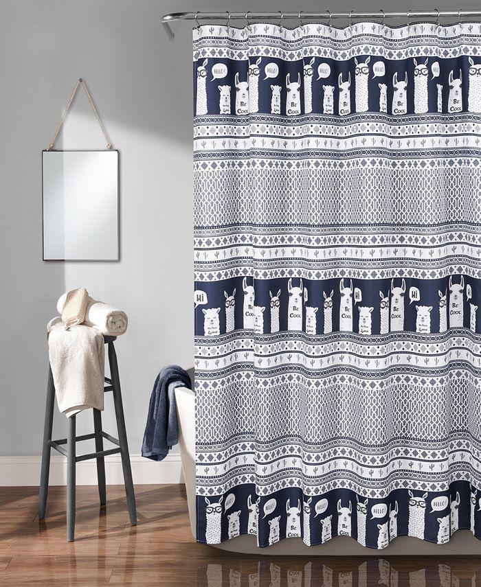 "Lush Décor - Llama Stripe 72"" x 72"" Shower Curtain"