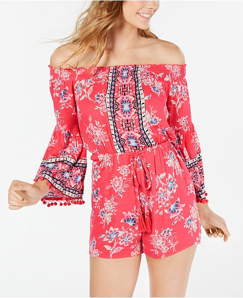 American Rag Juniors' Off-The-Shoulder Romper, Created for Macy's