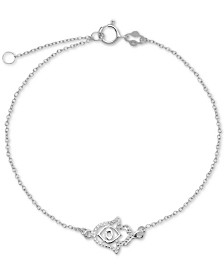 Hamsa Hand Chain Ankle Bracelet in Sterling Silver