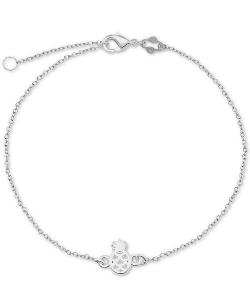 Giani Bernini Pineapple Chain Ankle Bracelet in Sterling Silver