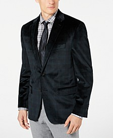 Men's Classic-Fit UltraFlex Stretch Green/Black Plaid Velvet Sport Coat