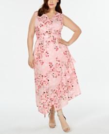 Calvin Klein Plus Size Printed Ruffled A-Line Dress