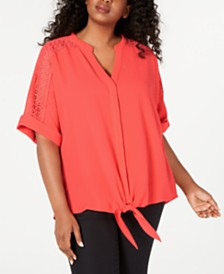 Alfani Plus Size Crochet Tie-Front Blouse, Created for Macy's