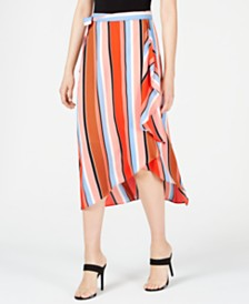 Bar III Printed Multi-Stripe Midi Skirt, Created for Macy's