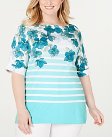 Karen Scott Plus Size Printed Boatneck Top, Created for Macy's