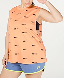 Plus Size Cotton Logo-Print Muscle Tank Top