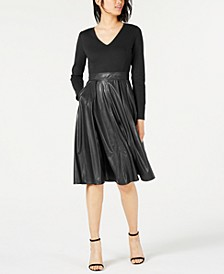 Faux-Leather Midi Dress