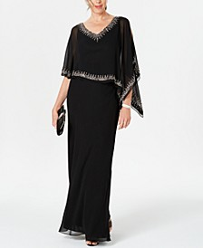 Bead-Embellished Cape Gown