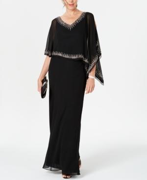 Vintage 1920s Dresses – Where to Buy J Kara Bead-Embellished Cape Gown $107.60 AT vintagedancer.com