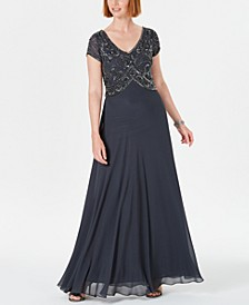 Embellished Empire-Waist Gown