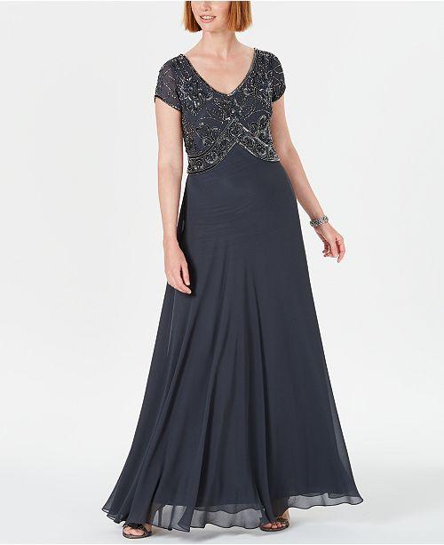 J Kara Embellished Empire-Waist Gown