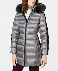 Lace-Up Fox-Fur-Trim Down Puffer Coat