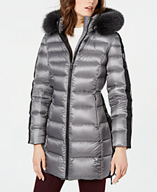 1 Madison Expedition Lace-Up Fox-Fur-Trim Down Puffer Coat