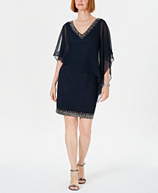 J Kara Embellished Overlay Sheath Dress