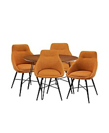 5 Piece Round Hairpin Dining Set with 4 Urban Chairs