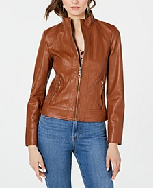 Front Zip Faux-Leather Jacket