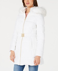 I.N.C. Belted Faux-Fur Trim Hooded Puffer Coat, Created for Macy's