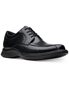 Clarks Men's Kempton Run Black Leather Dress Casual Lace-Up Shoes