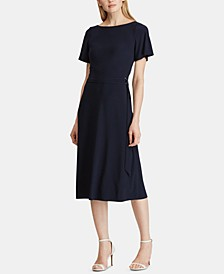 Self-Tie Flutter-Sleeve Jersey Dress