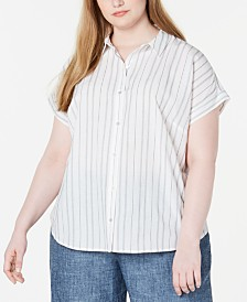 Eileen Fisher Plus Size Organic Cotton Striped Button-Front Shirt