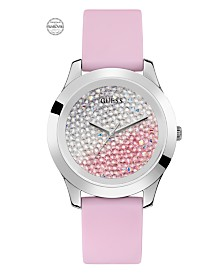 GUESS Women's Silver-Tone and Pink Silicone Watch Embellished with Crystals from Swarovski® 42MM